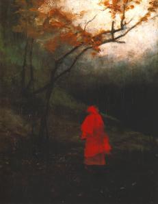 Eenzame vrouw in park