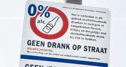 geen drank op straat