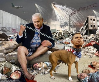 netanyahu-holding-obama-dog-gaza